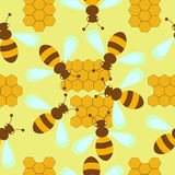 Pattern with bees and honeycombs. Seamless yellow pattern with bees and honeycombs Stock Illustration