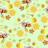 Pattern with bees Stock Photos