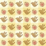 Pattern with beetle and bird Stock Photos