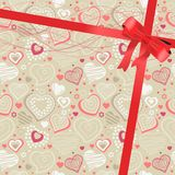 Pattern with beige contour hearts Royalty Free Stock Photos