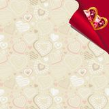 Pattern with beige contour hearts Royalty Free Stock Image