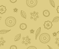 Pattern beige flowers. Beige pattern with brown flowers and leaves Royalty Free Stock Photo