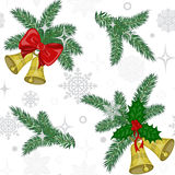 Pattern with bells and pine twigs Royalty Free Stock Image