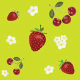 pattern with berries and flowers Stock Photography