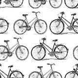 Pattern of the bicycles sketches. Seamless background of the bicycles for walk Royalty Free Stock Photo