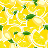Pattern with big lemons and leaves. Stock Photography