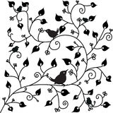 Pattern with a bird. Background pattern with a bird and leaves Stock Images