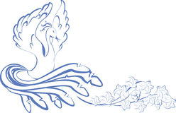 Pattern. bird dancing at the vine. EPS10  illustration Royalty Free Stock Image