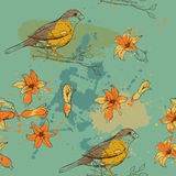 Pattern of bird and flower Stock Image