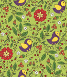 Pattern with bird and flowers Stock Images