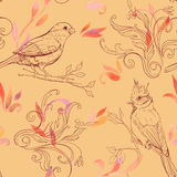 Pattern with bird and handdrawn flowers Stock Photo