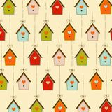 Pattern with birdcages Stock Photography