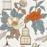 Pattern with birdcages and leaves Royalty Free Stock Photo
