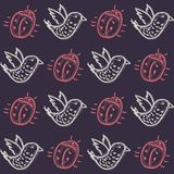 Pattern with birds and beetles Royalty Free Stock Images