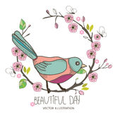 Pattern birds on a branch with pink blossoms. Beautiful spring background with pattern birds on a branch with pink blossoms Stock Images