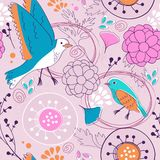 Pattern with birds and flowers Stock Photo