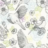Pattern with birds and flowers. Line drawings, ink drawing, hand drawn illustration Royalty Free Stock Image