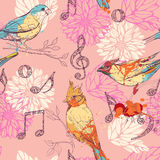 Pattern with birds, flowers and musical symbols Stock Photography