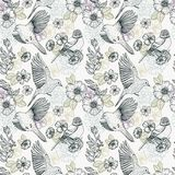Pattern with birds and flowers. Line drawings, ink drawing, hand drawn illustration Stock Images