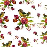 Pattern Birds and flowers Stock Photography