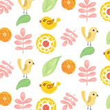 Pattern Birds and flowers Royalty Free Stock Photography