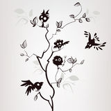Pattern with birds on a gray background. Stylized silhouettes of cartoon birds on a tree Stock Image
