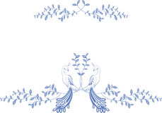 Pattern. Birds of paradise sitting on a branch with berries. EPS10  illustration Stock Images