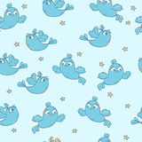 Pattern with birds. Seamless vector pattern with birds and stars Stock Photo