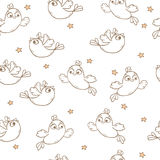 Pattern with birds. Seamless vector pattern with birds and stars Stock Images