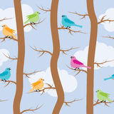 Pattern with birds and trees, vector  Royalty Free Stock Photography