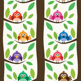 Pattern with birds and trees, vector. Seamless repeating pattern with birds and trees, vector stock illustration