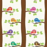 Pattern with birds and trees, vector  Stock Images
