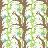 Pattern with birds and trees. Seamless vector pattern with birds, trees and branches Royalty Free Stock Images