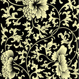 Pattern on black background with Chinese flowers. Stock Photo