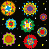 Pattern on a black background circles color. Multi-colored Stock Photography