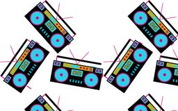 Pattern of black and blue, colored, hipster, beautiful, vintage retro audio tape recorders from the 80`s and 90`s scattered in d. Ifferent directions on a white Royalty Free Stock Photography