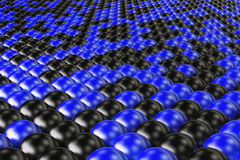 Pattern of black and blue spheres. Shiny balls. Abstract background. 3D rendering illustration Royalty Free Stock Images