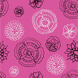 Pattern of black and bright flowers on a pink background Royalty Free Stock Image