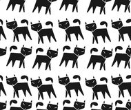 Pattern black cat running in a row Stock Images
