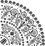 Pattern with black curled quadrant. Illustration with black curled quadrant ornament Stock Image