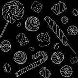 Pattern_black de Candys Imagens de Stock