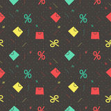 Pattern for Black Friday with bag and percent Royalty Free Stock Images