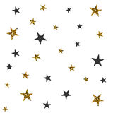 Pattern with black and gold stars. Vector seamless pattern with black and gold stars. Christmas wrapping paper Royalty Free Stock Photos