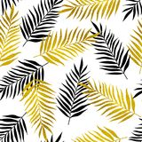 Pattern with black and golden palm leaves Stock Images