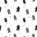 The pattern of black and gray cats with traces of feet. On a white background Stock Images