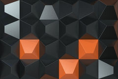 Pattern of black and orange pyramid shapes. Wall of pyramid. Abstract background. 3D rendering illustration Stock Images