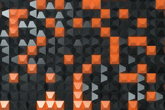 Pattern of black and orange pyramid shapes. Wall of pyramid. Abstract background. 3D rendering illustration Stock Image