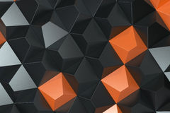 Pattern of black and orange pyramid shapes. Wall of pyramid. Abstract background. 3D rendering illustration Royalty Free Stock Images