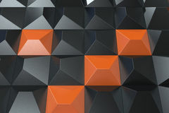 Pattern of black and orange pyramid shapes. Wall of pyramid. Abstract background. 3D rendering illustration Stock Photo