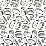 Pattern with black outline fast food symbols. Nice seamless pattern with black outline fast food symbols on white background. Cute cartoon linear fastfood Stock Image